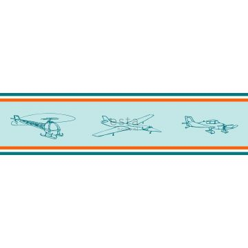 wallpaper border airplanes red and blue