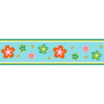 wallpaper border flowers turquoise and orange
