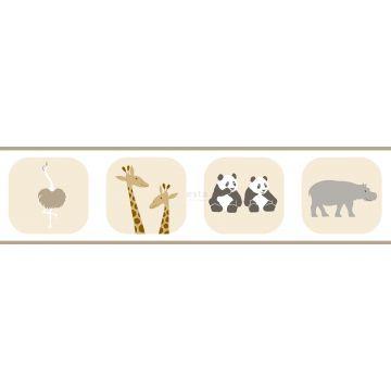 wallpaper border animals beige