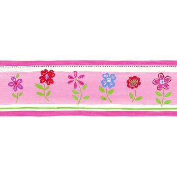 wallpaper border flowers pink