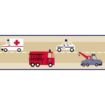 wallpaper border fire truck and police car beige, red and blue