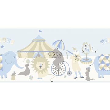 wallpaper border circus light blue, beige and white