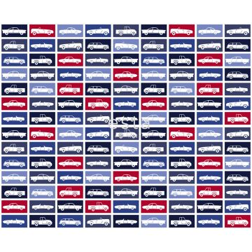fabric cars red and navy blue