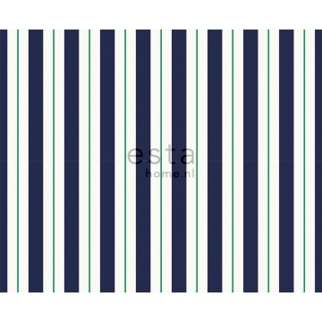fabric stripes navy blue and green