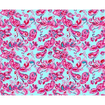 fabric funky flowers and paisleys turquoise