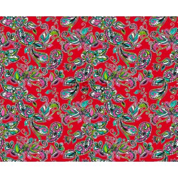 fabric funky flowers and paisleys red