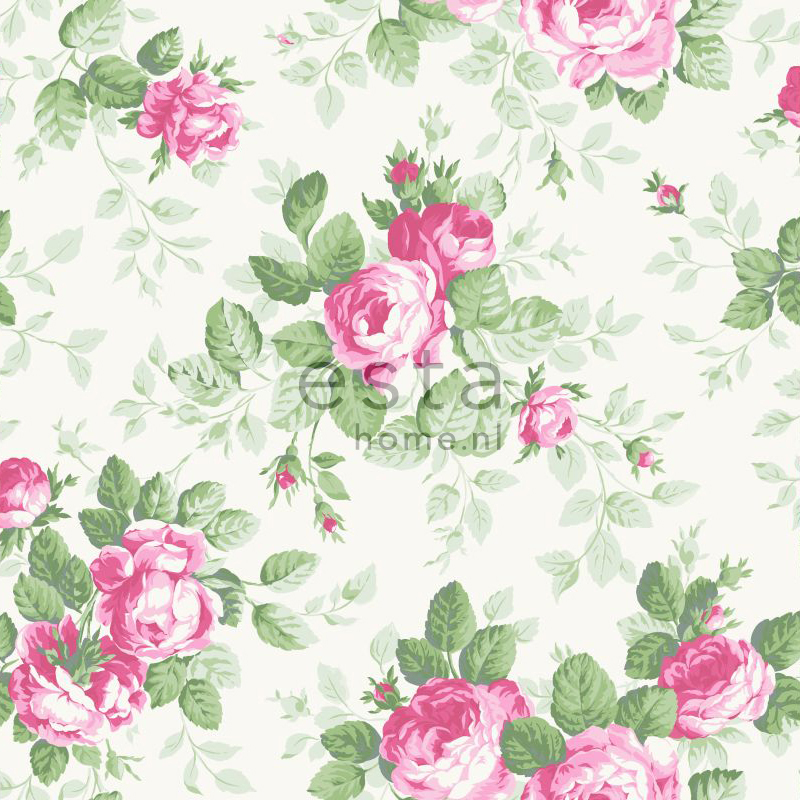wallcovering roses pink