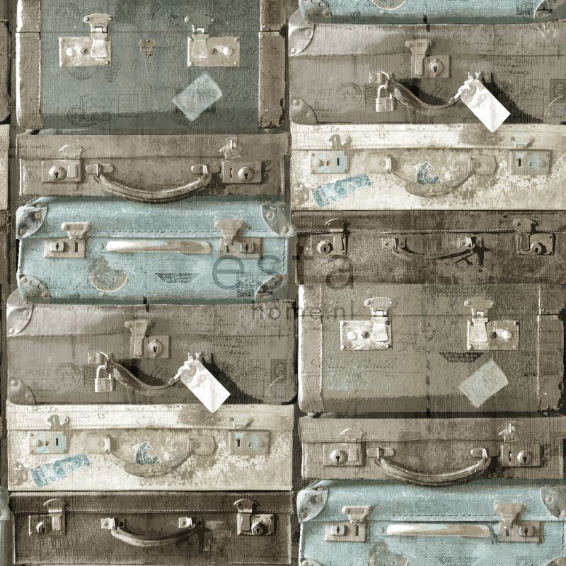 wallcovering vintage suitcases