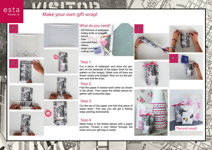 Create your own gift wrap with wallpaper